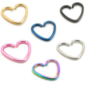 18g 10mm Heart Tragus Titanium Cartilage Daith Steel Jewelry Ring Earrings Rings