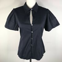 Theory Blouse Button Down Shirt Top Womens S Dark Navy Blue Puffy Sleeves