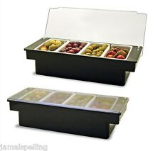 BLACK PLASTIC FRUIT TRAY Bar Top Garnish Center 4-pint Condiment Dispenser Caddy
