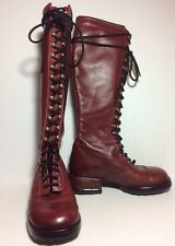 Mismatched John Fluevog Skip Rope Tall Combat Boot Red Size 6 Left Size 7 Right