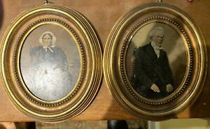 """Two Vintage Small Oval framed tinted early photographs 7""""-VGAC"""
