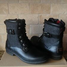 UGG KESEY BLACK WATERPROOF LEATHER ANKLE LACE-UP BOOTS SHOES SIZE US 10 WOMENS