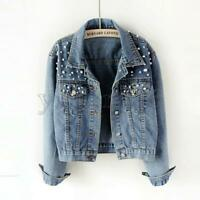 Womens Washed Old Blue Denim Jacket Casual Pearls Jeans Short Coats Fashion Tops