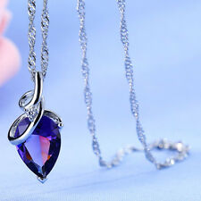 Angel Tears Drop Water Pendant Necklace Cute Purple Chic Pretty Jewelry Crystal