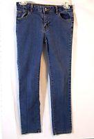 Faded Glory Girls Jeans Size 10 Blue Stretch Denim Slim Cut Adjustable Waist