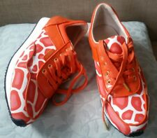 Mimco 39 or 8 Sunset Orange High Kick SNEAKERS Flats Leather Shoes
