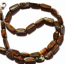 "Super Rare Natural Gem Boulder Australian Opal Smooth Nugget Beads Necklace 17"""