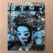 Hush Signed Hand Finished Siren Mini Art Print Poster Graffiti Geisha HPM Rare