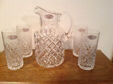 CESKA CRYSTAL SET PITCHER & 4  GLASSES TUMBLERS CRYSTAL NEW ICE TEA CANTERBURY