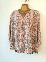 George 14 Pink Grey non stretch lace insert/trim 3/4 sleeve pretty Top blouse