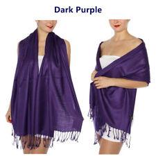Solid Silk Pashmina Shawl LONG 78X28 Wrap Stole Wool Silk Blend Scarf