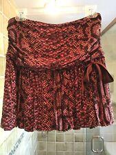 BETSEY JOHNSON Burgundy/Pink Snake Print Skirt, Size S, NWT Orig. $154