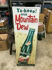 "LARGE 'MOUNTAIN DEW"" EMBOSSED METAL ADVERTISING SIGN, (42""x 14""), NEAR MINT COND"