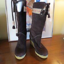 Marc Jacobs Stivali Mid Calf Brown Suede Wedge Boots SZ US 8.5 M EUR 39 Shoes