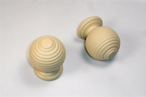 28mm Wooden Cream Colour Finished Bee Hive Style Ball Curtain Pole Finials PK2