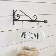 Metal Welcome Sign Wall Mounted Bracket with Hanging Double Sided Metal Sign