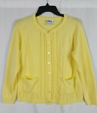 National Womens Petite Pastel Yellow Knit Cardigan Sweater Long Sleeve PM
