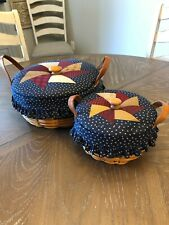 New ListingLongaberger Darning & Button Baskets w/ matching Quilted Lids & Liners