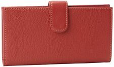 Mundi Rio Leather Checkbook Cover Wallet,Red,one size
