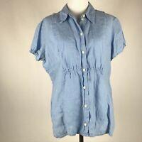 J. Jill Women Blue Linen Button Short Sleeve Collared Top sz M