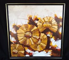"Painting Abstract Flower Floral Mod Garret 25"" Canvas Yellow Textured Vintage"