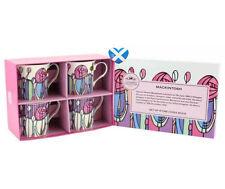 Fine China Cups Set of 4 Rennie Mackintosh Mugs GIFT BOX COFFEE Art Nouveau UK