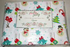 Jeffrey Banks Holiday Microfiber 4-piece Queen Sheet Set Xmas Holiday #04