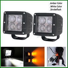 Set 4D LED Work Light Amber/White/Strobeflash Cube 3X3INCH Pods Fog WITH HARNESS