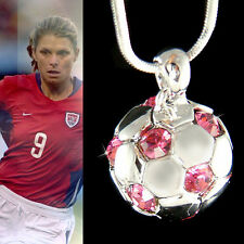w Swarovski Crystal ~Pink 3D Football Women Soccer Ball~ Pendant Girls Necklace