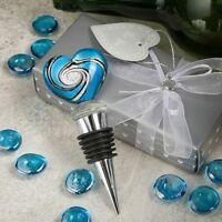 12-72 Blue Murano Heart Wine Bottle Stoppers - Wedding Shower Party Favor