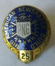 AMERICAN NEWSPAPER GUILD 25 YEAR BLUE AND GOLD SCREWBACK PIN