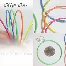 """CLIP ON 2-1/4"""" COLOR NEON Plastic Coated HOOP Non-Pierced Thin Light Earrings"""