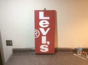 """~Vintage~ 30"""" Levi's Store Display Advertisement Sign Red Double Sided"""