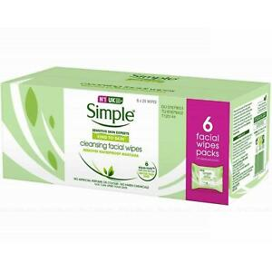Simple Kind to Skin 150 Cleansing Facial Wipe Face Make Up Remover Pack 6x25 Pcs