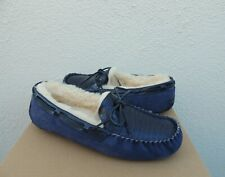 UGG NAVY DAKOTA CROCO LEATHER SHEEPWOOL MOCCASIN SLIPPERS, US 11/ EUR 42 ~NIB