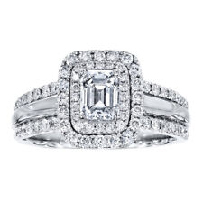 1.5 Ct Diamond Engagement Rings Solid 14kt White Gold Rings Sets Size M N O  SI1