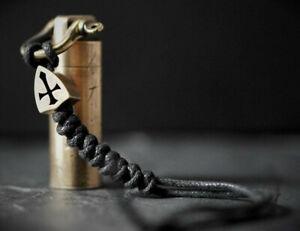EDC BRASS CROSS SHOTGUN SHELL PILL BOX BOTTLE PARACORD CAPSULE KEYCHAIN KEYRING