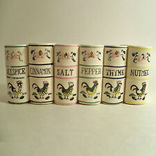 VTG MCM ROOSTER MOTIF BOOK SHAPED SPICE SET COUNTRY / RETRO KITCHEN JAPAN 1950's