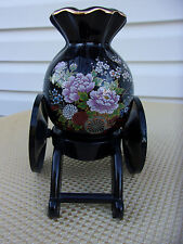 Vintage Decorative Asian Chinese Floral Black Ceramic Vase Gold Trim Wheel Stand