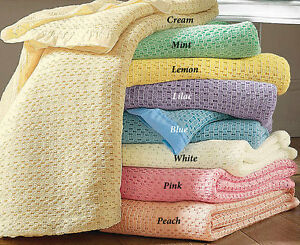Quality Classic Lightweight Cellular Bed Blanket Throw All Sizes Satin Edge