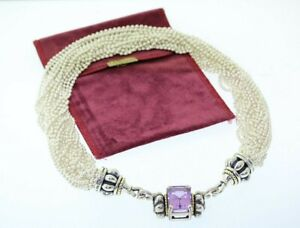 LAGOS CAVIAR Sterling & 18k Gold 14ct Amethyst Ball Chain Torsade Necklace