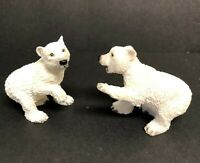 Vintage 1988 Castagna Polar Bear Cubs Hand Painted Resin Figurines Made In Italy