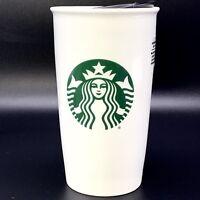 Starbucks Double Wall White Ceramic Travel Tumbler Mermaid Logo 12 Oz