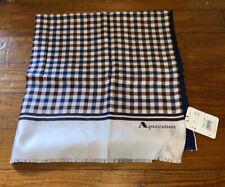 NWT Aquascutum Plaid Silk & Navy Blue Wool Scarf NEW