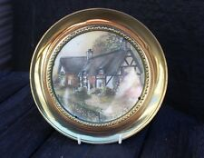 VINTAGE BRASS WALL PLATE COTTAGE SCENE