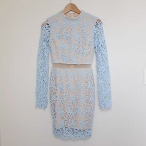 Passion Fusion Embroidered Lace Long Sleeve Bodycon Cutout Dress Size XS 6