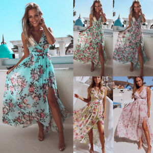 Women Floral Boho Holiday Slit Long Dress Ladies Summer Sleeveless Maxi Sundress