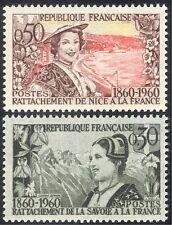 FRANCIA 1960 montagne/coast/Donna/Fiori/SAVOIA/BELLA/Costumi Set 2 V (n33505)