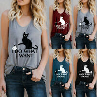 Nobby Cat Women Letter Vest Sleeveless Loose Crop Tops Tank Tops Blouse T-Shirt