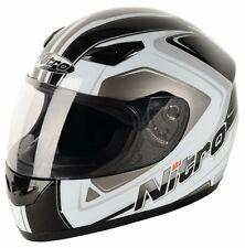 NITRO Vertice Cara Completa Casco De Moto Crash Gris Blanco Negro S M L XL XXL